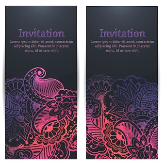 Wedding invitation and announcement card with floral background artwork.