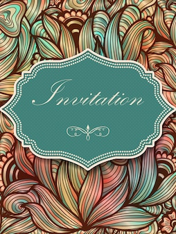 Wedding invitation and announcement card with floral background artwork