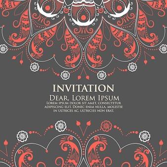 Invito di nozze e scheda di annuncio con pizzo rotondo ornamentale con elementi arabeschi. stile mehndi. orientare l'ornamento tradizionale. ornamento floreale colorato rotondo di zentangle.