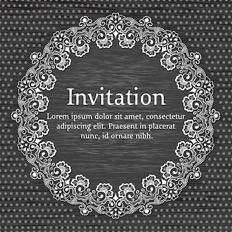 Wedding invitation and announcement card with ornamental round lace with arabesque elements.