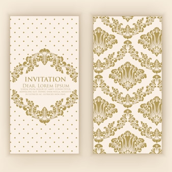 Wedding invitation and announcement card with vintage artwork