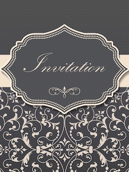 Wedding invitation and announcement card with vintage background artwork