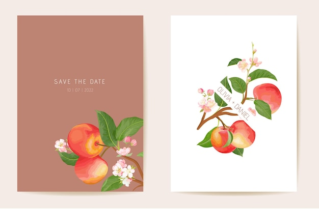 청첩장 사과, 가을 과일, 꽃, 잎 카드. 트로픽 수채화 템플릿 벡터입니다. 식물 저장 날짜 황금 단풍 현대 포스터, 최신 유행 디자인, 고급 배경