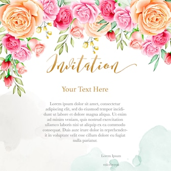 Wedding invitation background with watercolor floral template
