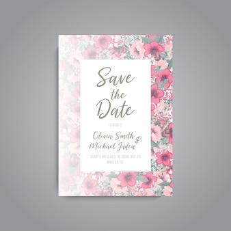 結婚式招待状。美しい花。グリーティングカード。フレーム