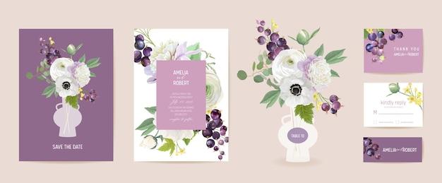 結婚式の招待状の黒スグリの果実、アネモネ、牡丹、バラの花、葉のカード。ベリー水彩テンプレートベクトル。ボタニカルセーブザデイトモダンポスター、トレンディなデザイン、豪華な背景