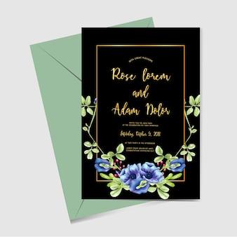 結婚式招待状青い花の緑の金
