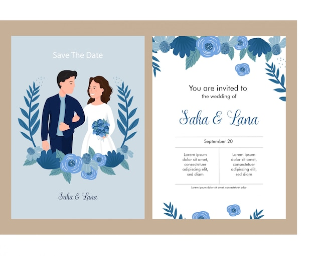 Wedding invitation blue theme with bride and groom