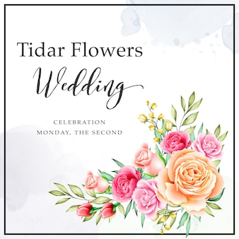 Wedding invitation bouquet with watercolor floral template