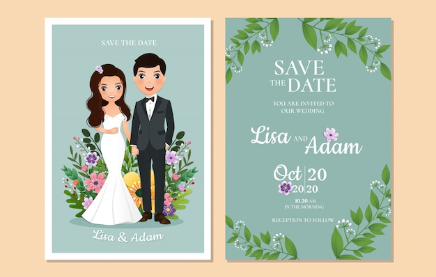 Wedding invitation the bride and groom cute couple cartoon character.