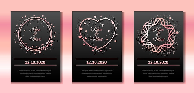Wedding invitation car template set