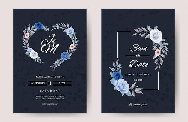 결혼식 초대 카드. 블루 톤 로즈 세트, 화이트 프레임. 수채화로 그린 꽃. 요람 템플릿을 설정합니다.
