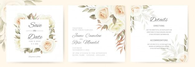 Свадебное приглашение. букет из белых роз, коричневые листья обращается в винтажном стиле. набор шаблонов карточек.
