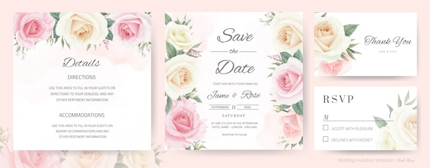 Wedding invitation card. bouquet of white roses, pink, watercolor painted. template thank you card, rsvp card and save the date card.