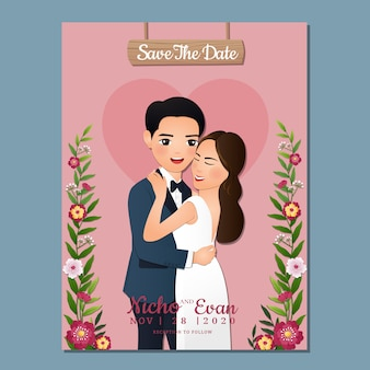 Wedding invitation card the bride and groom cute couple cartoon character.
