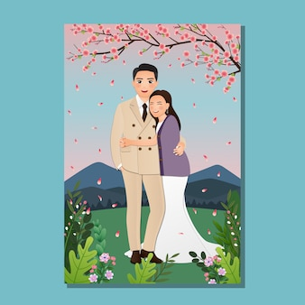 Wedding invitation card the bride and groom cute couple cartoon with cheery blossom full blooming