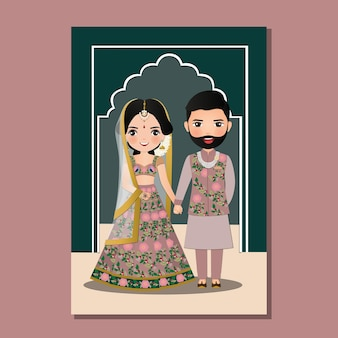 Wedding invitation card the bride and groom cute couple in traditional indian dress cartoon character   illustration