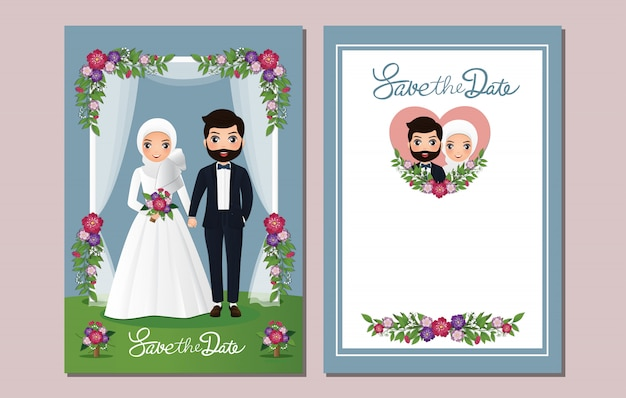 Wedding invitation card the bride and groom cute muslim couple cartoon under the archway decorated with flowers.