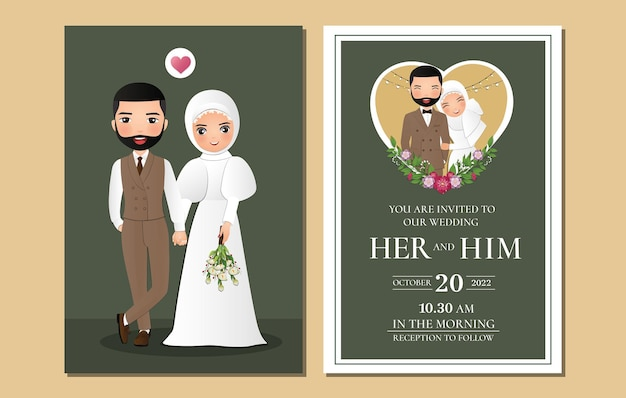Wedding invitation card the bride and groom cute muslim couple cartoon