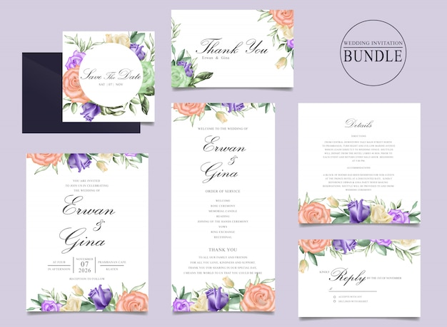 Wedding invitation card bundle design with watercolor floral and leaves template