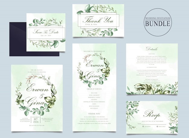 Wedding invitation card bundle template with green leaves Premium Vector