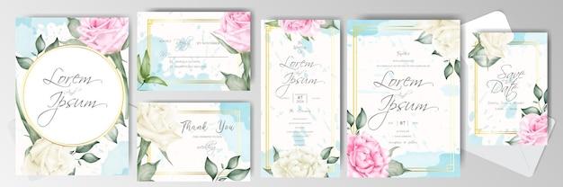 結婚式の招待カードバンドルテンプレート