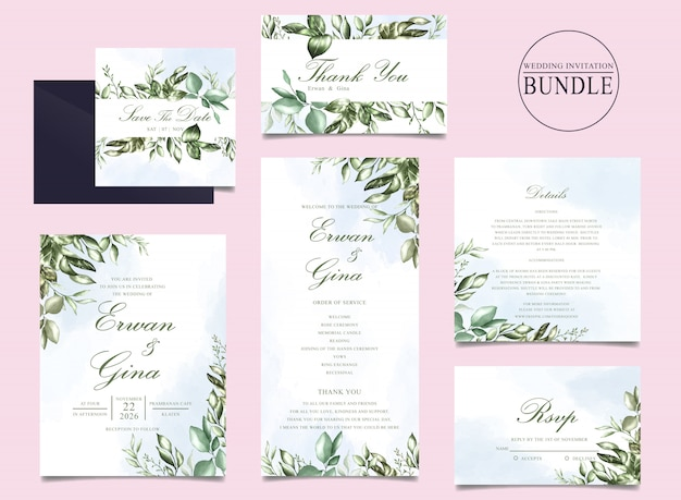 Wedding invitation card bundle with green leaves template Premium Vector