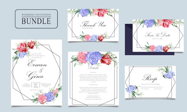 결혼식 초대 카드 번들 수채화 꽃과 나뭇잎 템플릿