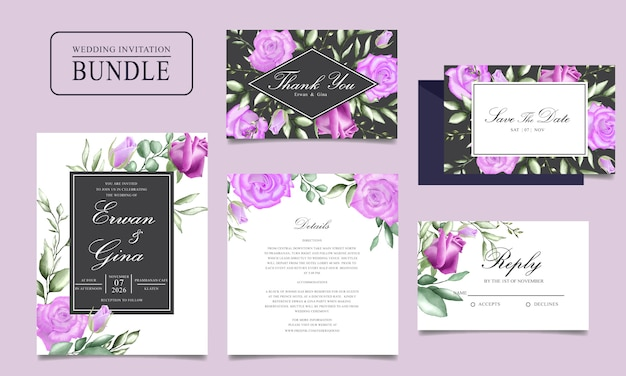 Wedding invitation card bundle with watercolor floral and leaves template