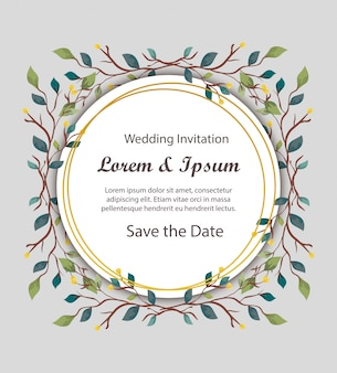 Wedding invitation card circular with branches and leafs