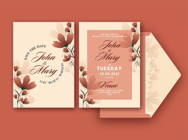 Wedding invitation card decorated brown flowers in front and back side.