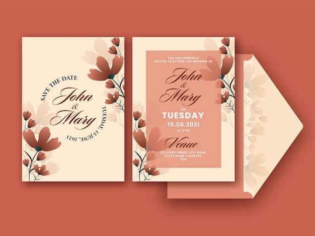 結婚式の招待カードは、前面と背面に茶色の花を飾りました。