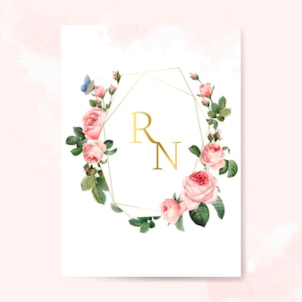 Wedding invitation card decorated with roses vector
