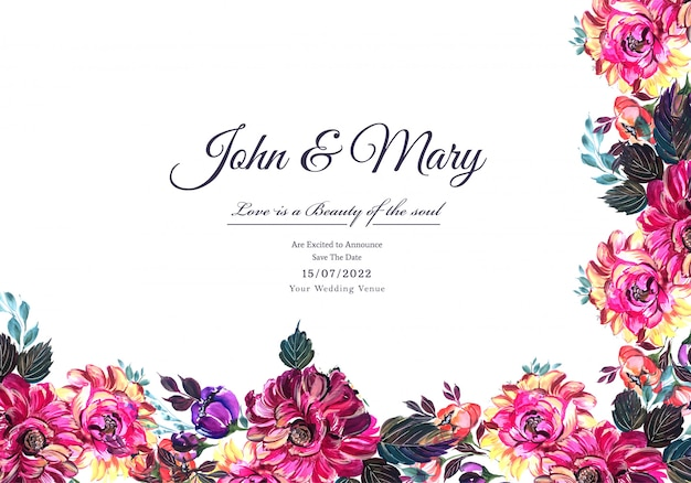 Modello decorativo della struttura del fiore della carta dell'invito di nozze