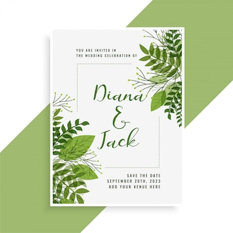 Wedding invitation card design in floral green leaves style