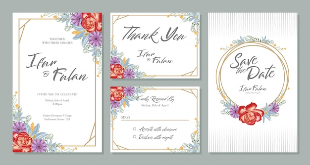 Wedding invitation card design sets with flowers