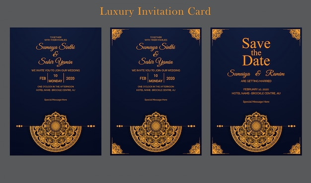 Wedding invitation card design template with golden luxury mandala style