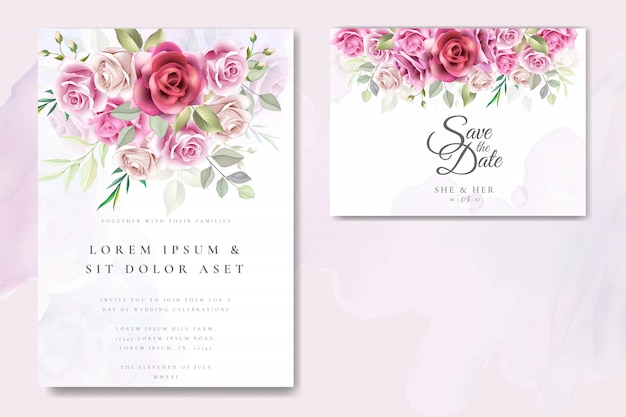 Wedding invitation card design with elegant roses