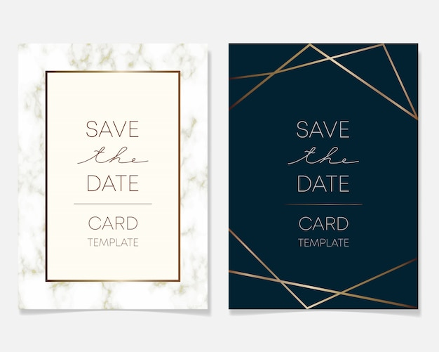 Wedding invitation card design with golden frames and marble texture