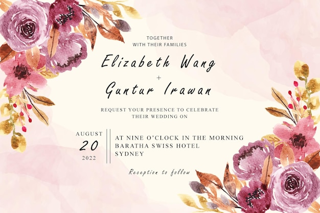 Дизайн свадебного приглашения с акварельной цветочной композицией