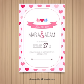 Wedding invitation card in flat style