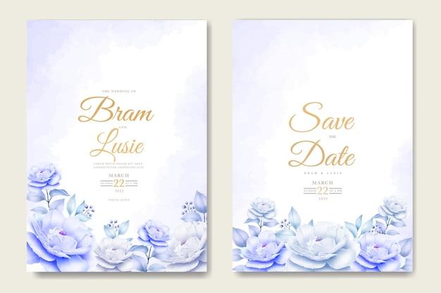 花と水彩画を残す結婚式の招待カード