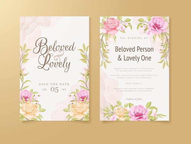 결혼식 초대 카드 꽃 컨셉 템플릿 디자인