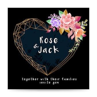 Wedding invitation card floral design template