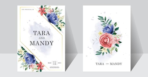 青とピンクの牡丹の花と結婚式の招待カードの花柄