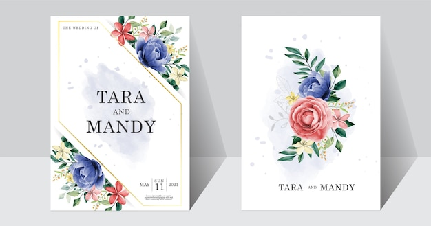 Wedding invitation card floral design with blue and pink peony flower