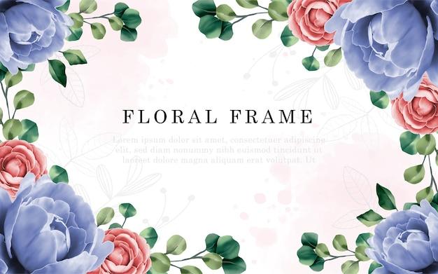 손 그리기와 모란 꽃 결혼식 초대 카드 꽃 디자인