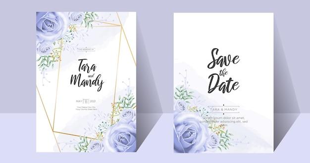 手描きの結婚式の招待カードの花柄