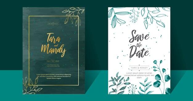 손 그리기와 결혼식 초대 카드 꽃 디자인