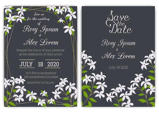 Wedding invitation card floral hand drawn frame